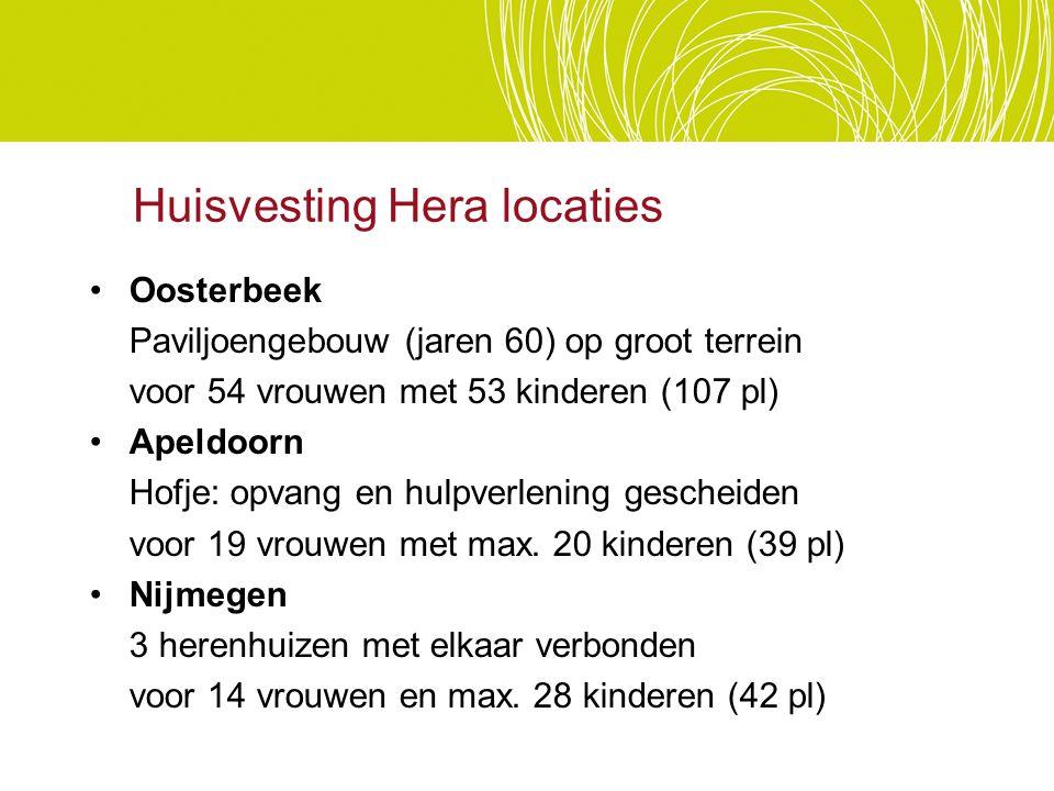 Huisvesting Hera locaties Oosterbeek Paviljoengebouw (jaren 60) op groot terrein voor 54 vrouwen met 53 kinderen (107 pl) Apeldoorn Hofje: opvang en h
