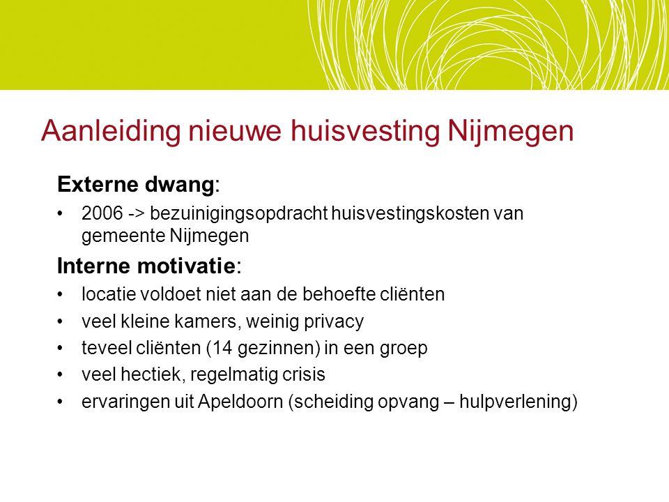 Aanleiding nieuwe huisvesting Nijmegen Externe dwang: 2006 -> bezuinigingsopdracht huisvestingskosten van gemeente Nijmegen Interne motivatie: locatie