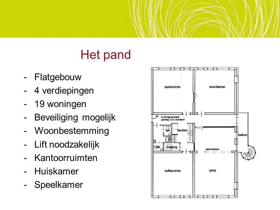 Het pand -Flatgebouw -4 verdiepingen -19 woningen -Beveiliging mogelijk - Woonbestemming -Lift noodzakelijk -Kantoorruimten -Huiskamer -Speelkamer