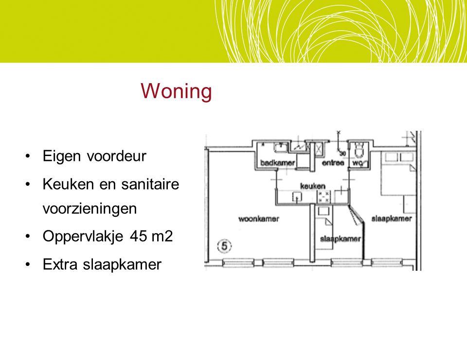 Eigen voordeur Keuken en sanitaire voorzieningen Oppervlakje 45 m2 Extra slaapkamer Woning