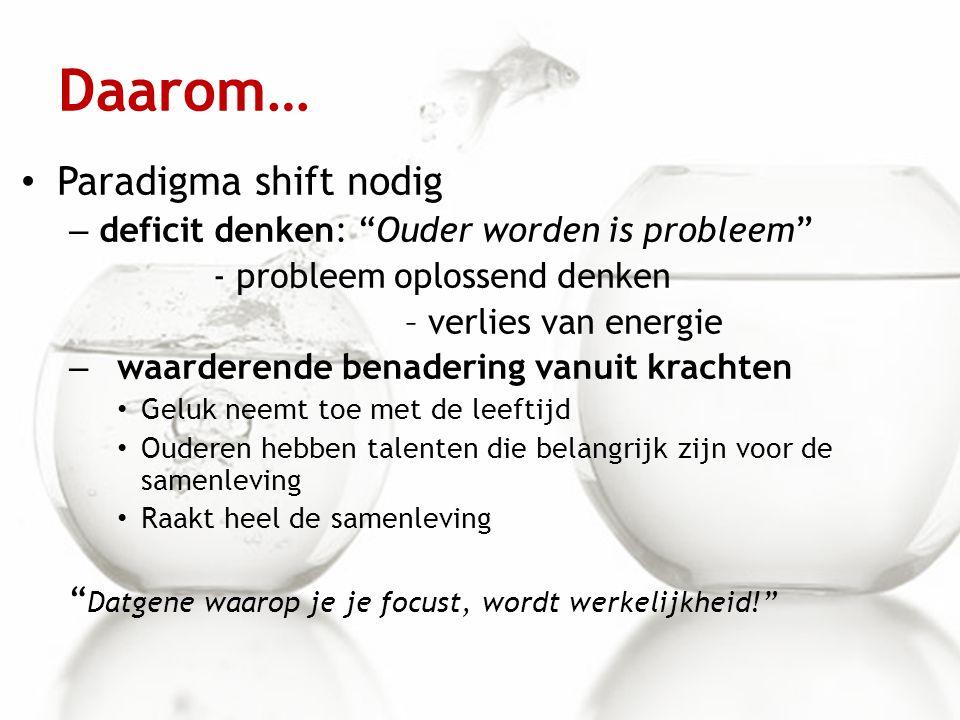 """Daarom… Paradigma shift nodig – deficit denken: """"Ouder worden is probleem"""" - probleem oplossend denken – verlies van energie – waarderende benadering"""