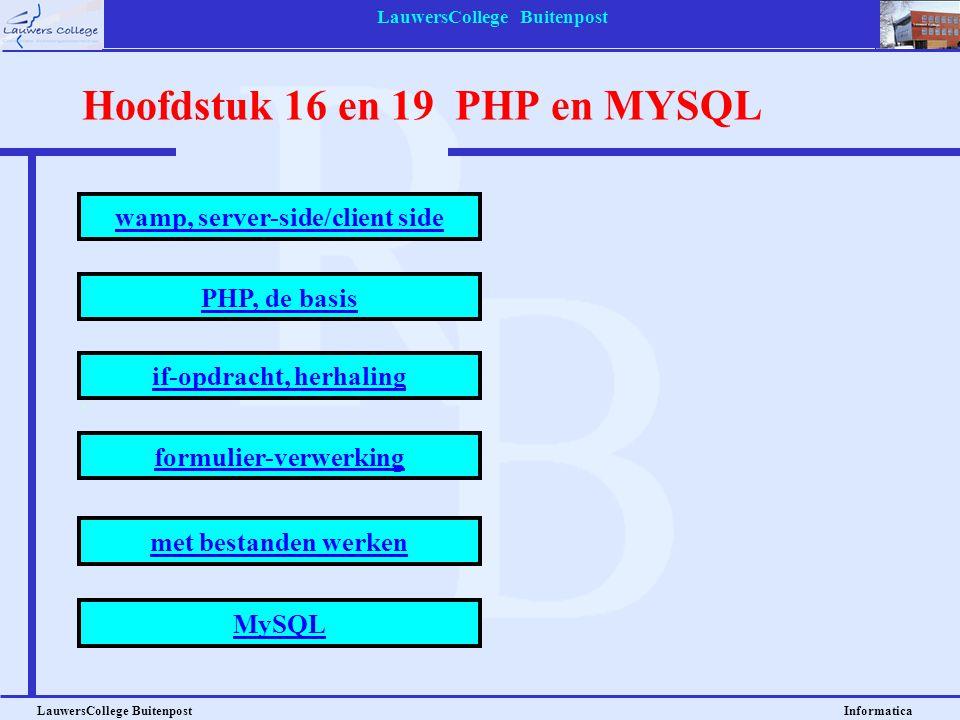 LauwersCollege Buitenpost LauwersCollege Buitenpost Informatica Hoofdstuk 16 en 19 PHP en MYSQL wamp, server-side/client side PHP, de basis if-opdracht, herhaling formulier-verwerking met bestanden werken MySQL