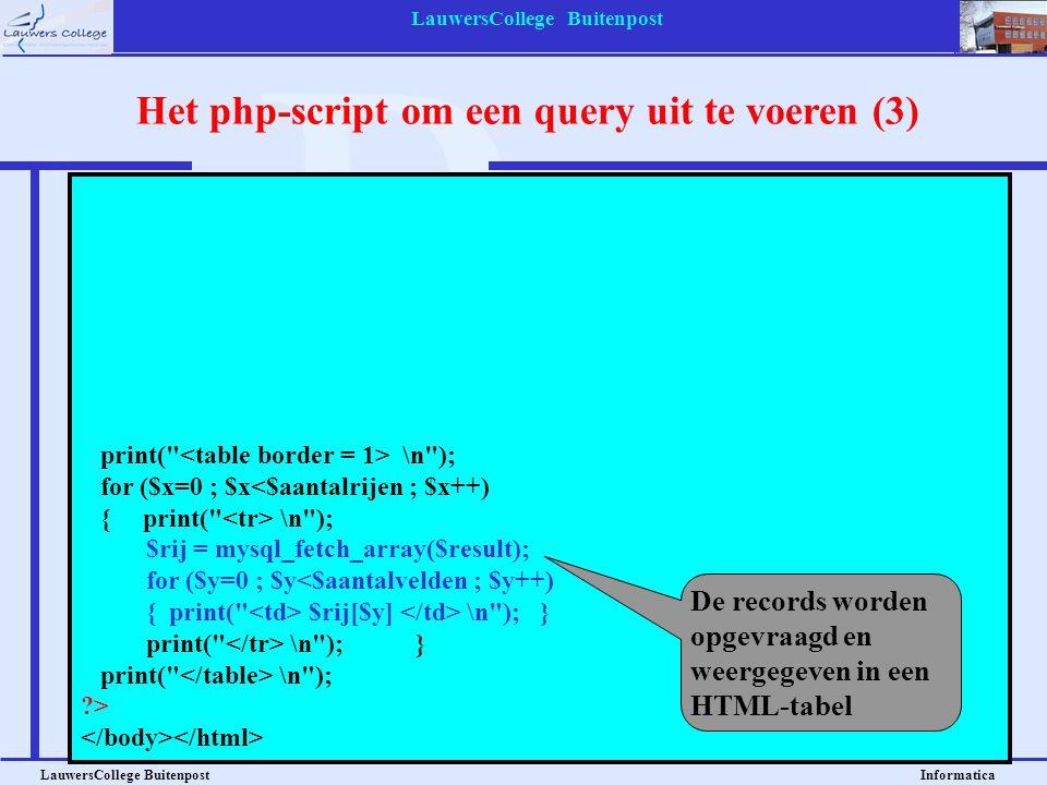 LauwersCollege Buitenpost LauwersCollege Buitenpost Informatica <?php $verbinding=mysql_connect( localhost , leerling , lc2010 ); mysql_select_db( bibliotheek ,$verbinding); $query = SELECT * FROM leerlingen ; $result = mysql_query($query); $aantalrijen = mysql_num_rows($result); $aantalvelden = mysql_num_fields($result); print( \n ); for ($x=0 ; $x<$aantalrijen ; $x++) { print( \n ); $rij = mysql_fetch_array($result); for ($y=0 ; $y<$aantalvelden ; $y++) { print( $rij[$y] \n ); } print( \n ); } print( \n ); ?> Het php-script om een query uit te voeren (3) De records worden opgevraagd en weergegeven in een HTML-tabel