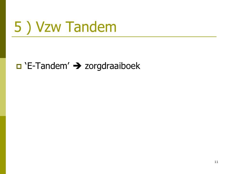 11 5 ) Vzw Tandem  ' E-Tandem'  zorgdraaiboek