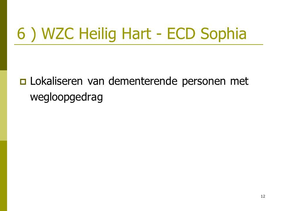 12 6 ) WZC Heilig Hart - ECD Sophia  Lokaliseren van dementerende personen met wegloopgedrag