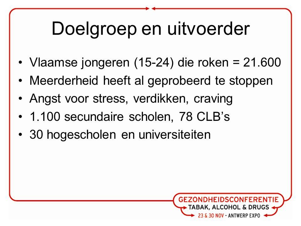 Doelgroep en uitvoerder Vlaamse jongeren (15-24) die roken = 21.600 Meerderheid heeft al geprobeerd te stoppen Angst voor stress, verdikken, craving 1.100 secundaire scholen, 78 CLB's 30 hogescholen en universiteiten