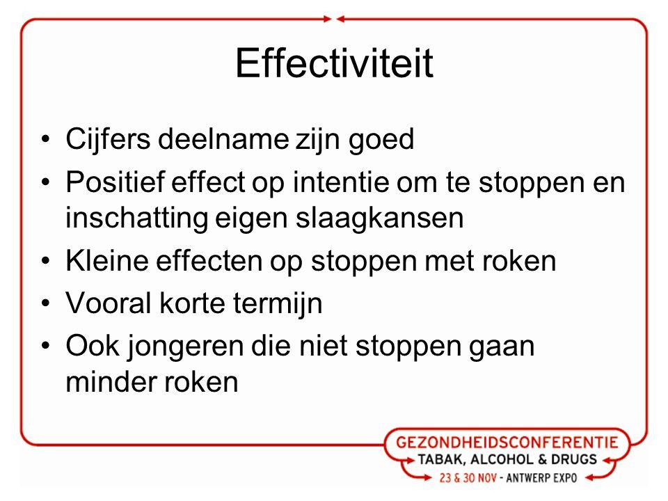 Effectiviteit Cijfers deelname zijn goed Positief effect op intentie om te stoppen en inschatting eigen slaagkansen Kleine effecten op stoppen met roken Vooral korte termijn Ook jongeren die niet stoppen gaan minder roken