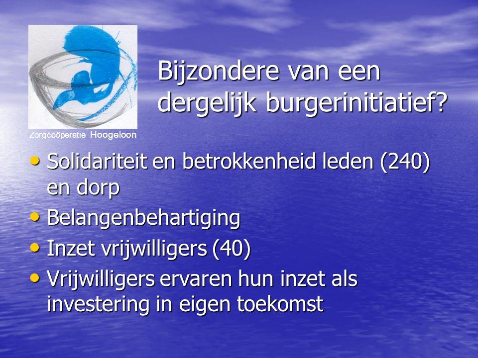 Zorgcoöperatie Hoogeloon Bijzondere van een dergelijk burgerinitiatief.