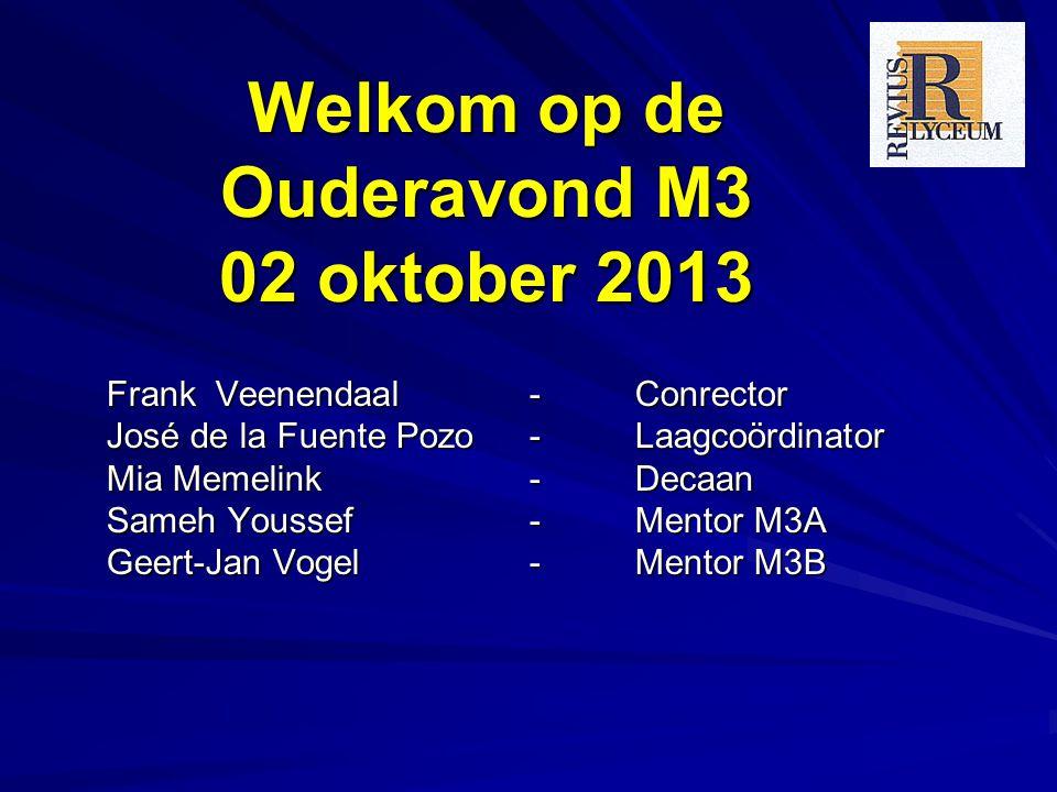 Welkom op de Ouderavond M3 02 oktober 2013 Frank Veenendaal - Conrector José de la Fuente Pozo - Laagcoördinator Mia Memelink - Decaan Sameh Youssef- Mentor M3A Geert-Jan Vogel- Mentor M3B