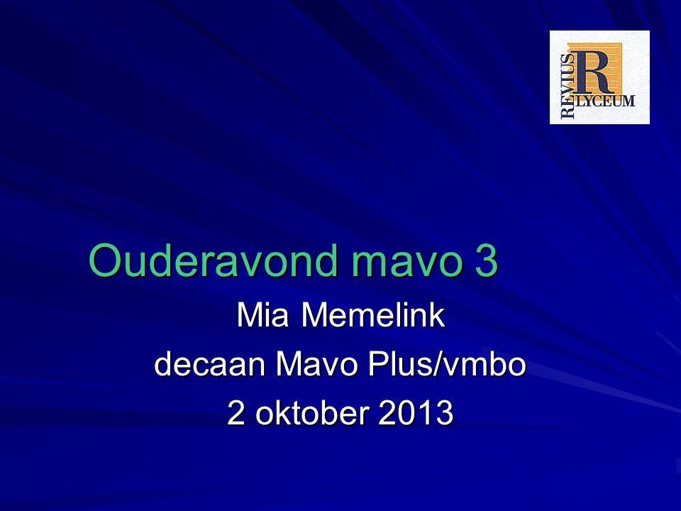 Ouderavond mavo 3 Mia Memelink decaan Mavo Plus/vmbo 2 oktober 2013