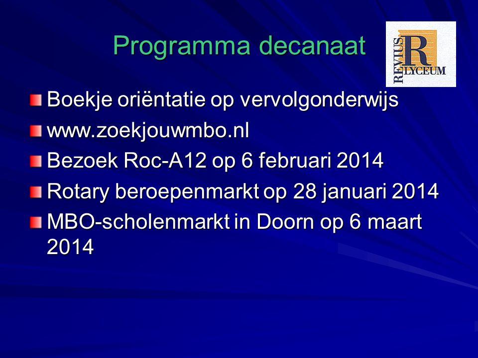 Programma decanaat Boekje oriëntatie op vervolgonderwijs www.zoekjouwmbo.nl Bezoek Roc-A12 op 6 februari 2014 Rotary beroepenmarkt op 28 januari 2014 MBO-scholenmarkt in Doorn op 6 maart 2014