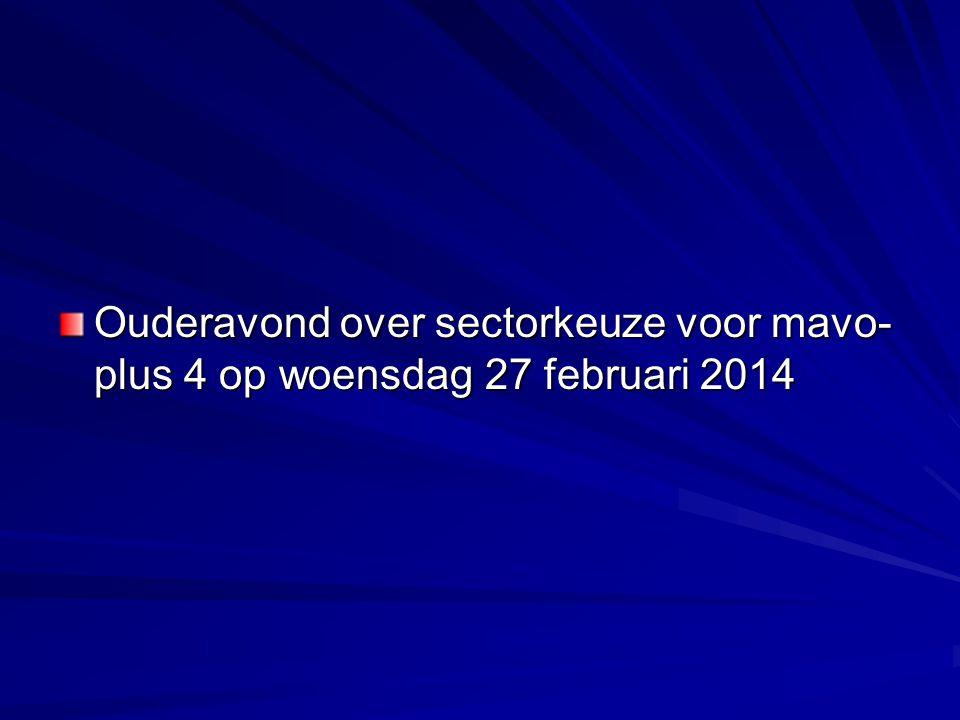 Ouderavond over sectorkeuze voor mavo- plus 4 op woensdag 27 februari 2014