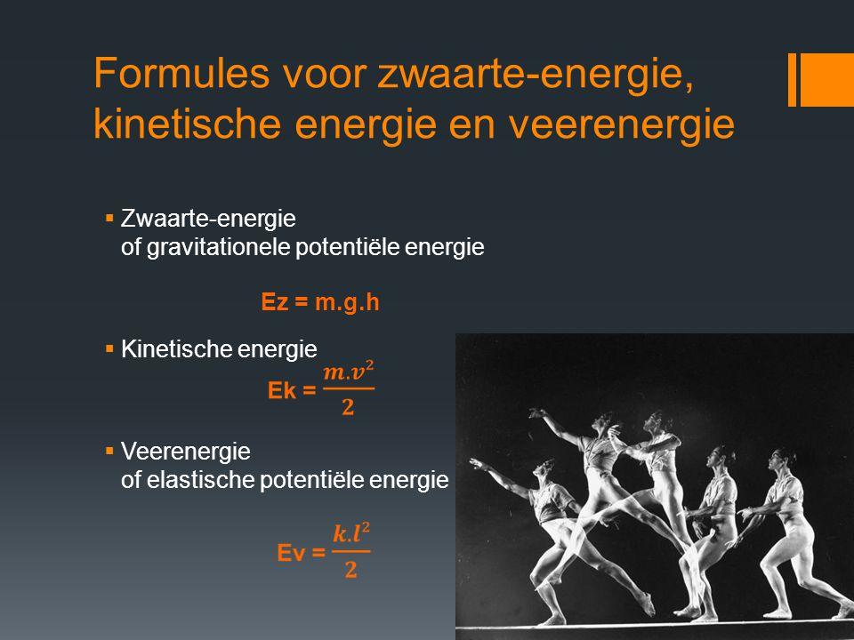 Formules voor zwaarte-energie, kinetische energie en veerenergie  Zwaarte-energie of gravitationele potentiële energie  Kinetische energie  Veerene