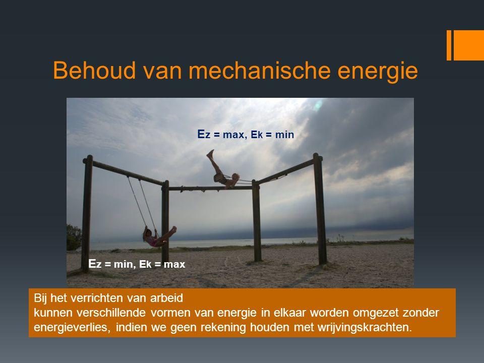 Behoud van mechanische energie E z = max, E k = min E z = min, E k = max Bij het verrichten van arbeid kunnen verschillende vormen van energie in elka
