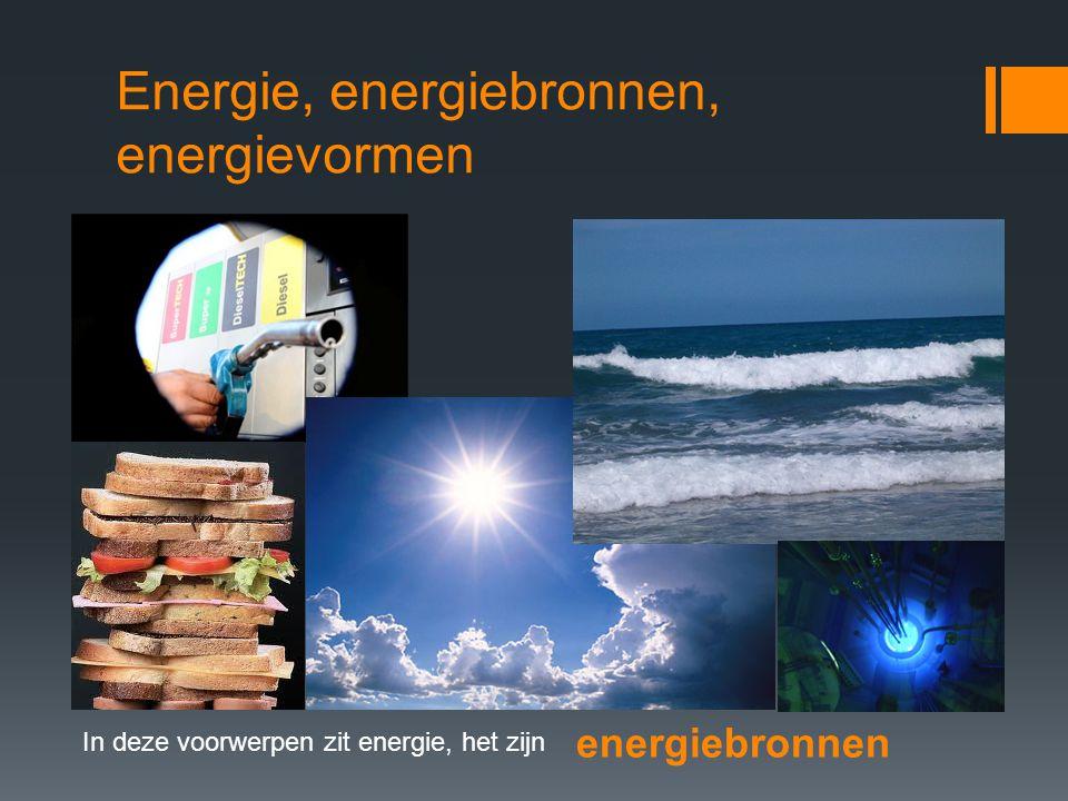 Energie, energiebronnen, energievormen In deze voorwerpen zit energie, het zijn energiebronnen