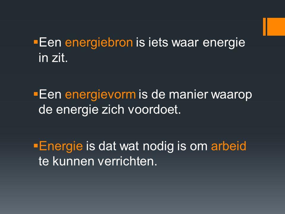  Een energiebron is iets waar energie in zit.  Een energievorm is de manier waarop de energie zich voordoet.  Energie is dat wat nodig is om arbeid