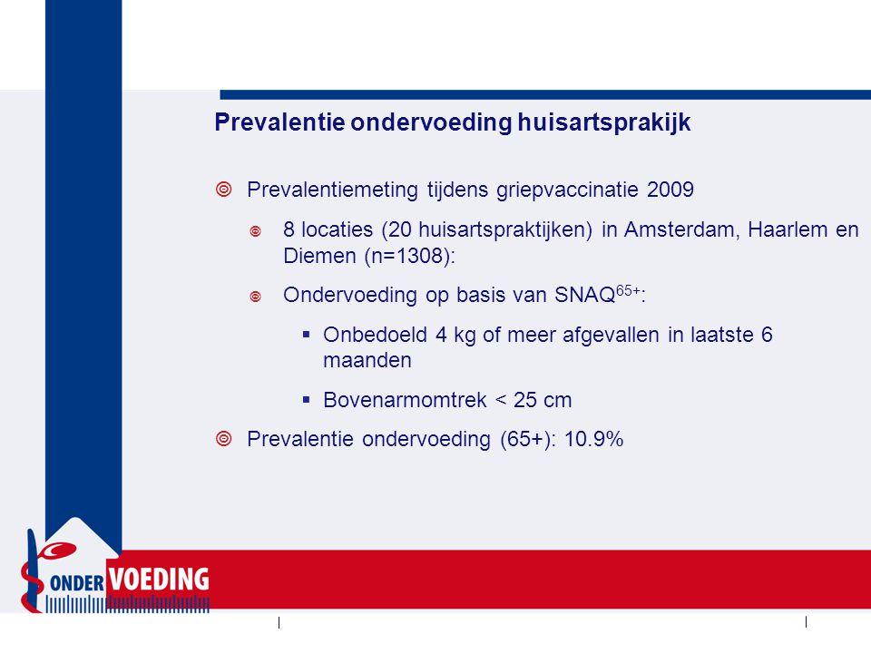 Prevalentie ondervoeding huisartsprakijk  Prevalentiemeting tijdens griepvaccinatie 2009  8 locaties (20 huisartspraktijken) in Amsterdam, Haarlem e