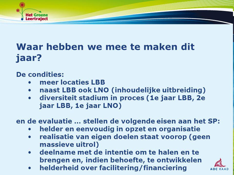 Waar hebben we mee te maken dit jaar? De condities: meer locaties LBB naast LBB ook LNO (inhoudelijke uitbreiding) diversiteit stadium in proces (1e j