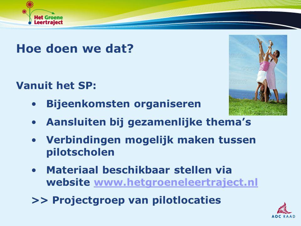 Hoe doen we dat? Vanuit het SP: Bijeenkomsten organiseren Aansluiten bij gezamenlijke thema's Verbindingen mogelijk maken tussen pilotscholen Materiaa