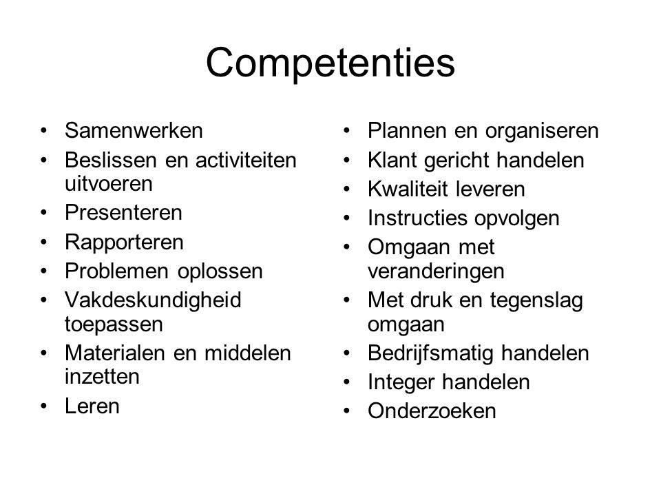 Competenties Samenwerken Beslissen en activiteiten uitvoeren Presenteren Rapporteren Problemen oplossen Vakdeskundigheid toepassen Materialen en midde