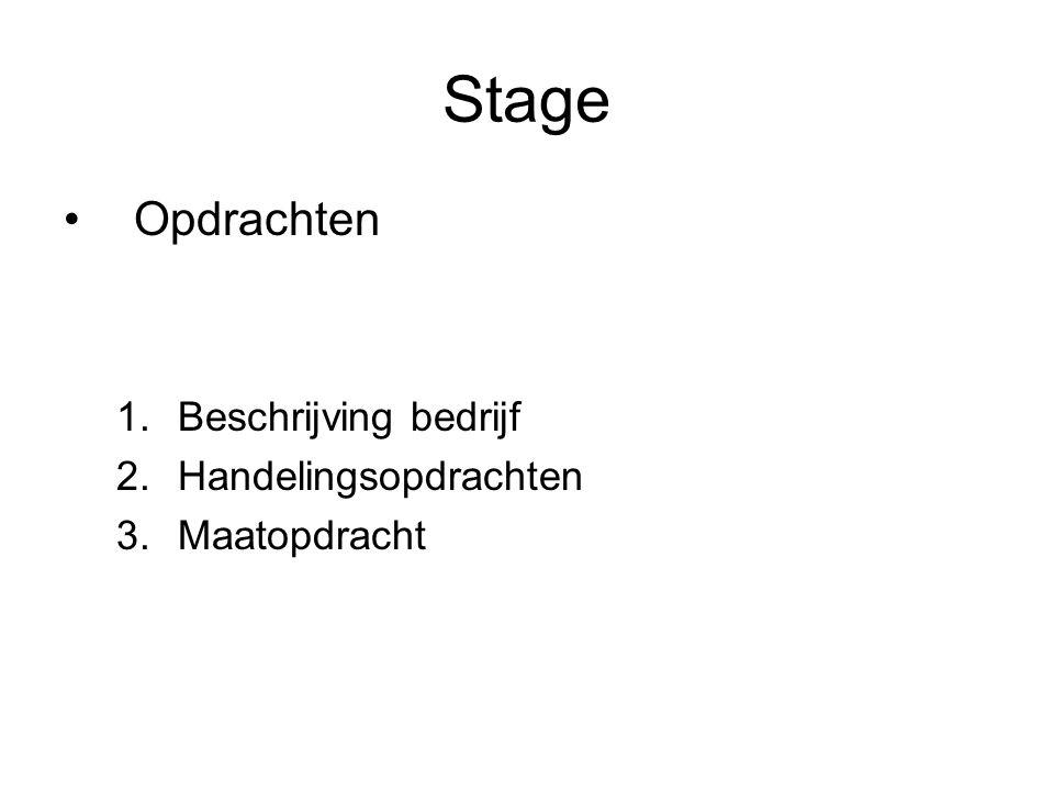 Stage Opdrachten 1.Beschrijving bedrijf 2.Handelingsopdrachten 3.Maatopdracht
