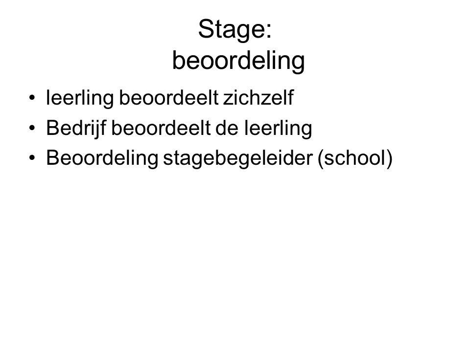 Stage: beoordeling leerling beoordeelt zichzelf Bedrijf beoordeelt de leerling Beoordeling stagebegeleider (school)