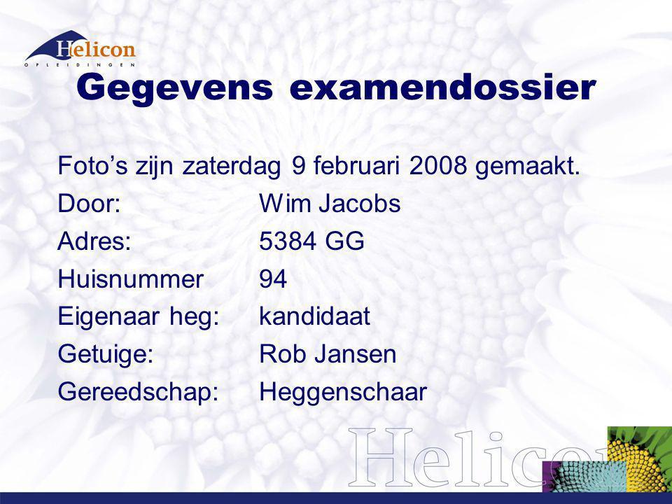Gegevens examendossier Foto's zijn zaterdag 9 februari 2008 gemaakt. Door: Wim Jacobs Adres: 5384 GG Huisnummer 94 Eigenaar heg: kandidaat Getuige: Ro