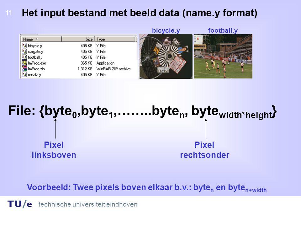 technische universiteit eindhoven 11 Het input bestand met beeld data (name.y format) File: {byte 0,byte 1,……..byte n, byte width*height } Pixel linksboven Pixel rechtsonder Voorbeeld: Twee pixels boven elkaar b.v.: byte n en byte n+width bicycle.y football.y