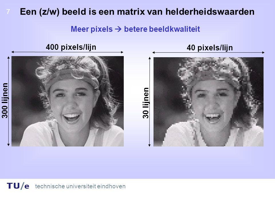 technische universiteit eindhoven 7 7 Een (z/w) beeld is een matrix van helderheidswaarden 400 pixels/lijn 300 lijnen 40 pixels/lijn 30 lijnen Meer pixels  betere beeldkwaliteit