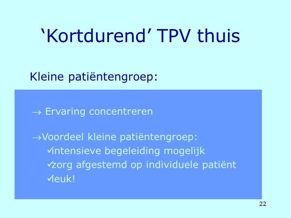 22 Kleine patiëntengroep: 'Kortdurend' TPV thuis  Ervaring concentreren Voordeel kleine patiëntengroep: intensieve begeleiding mogelijk zorg afgeste