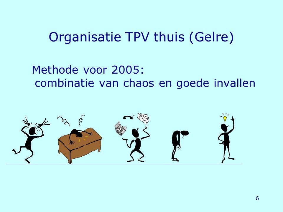6 Organisatie TPV thuis (Gelre) Methode voor 2005: combinatie van chaos en goede invallen