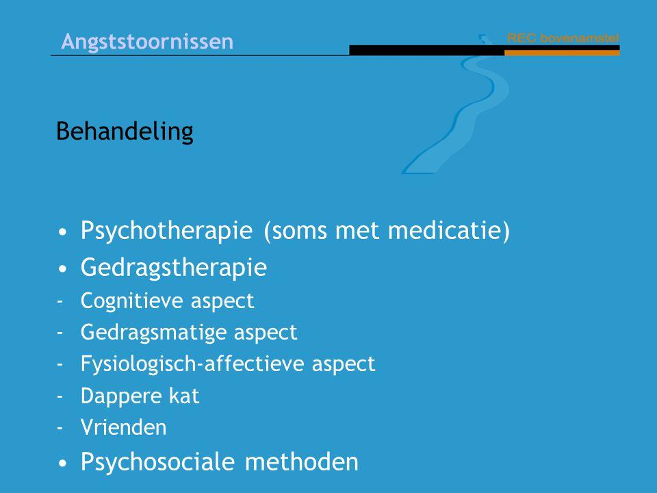 Angststoornissen Behandeling Psychotherapie (soms met medicatie) Gedragstherapie -Cognitieve aspect -Gedragsmatige aspect -Fysiologisch-affectieve aspect -Dappere kat - Vrienden Psychosociale methoden
