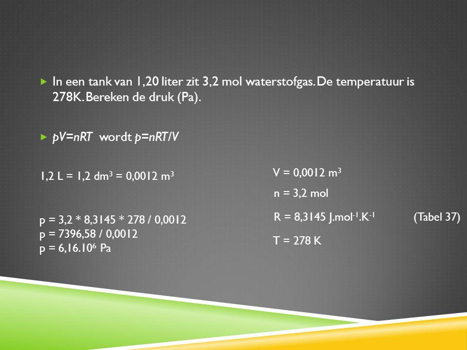  In een tank van 1,20 liter zit 3,2 mol waterstofgas. De temperatuur is 278K. Bereken de druk (Pa).  pV=nRT wordt p=nRT/V T = 278 K 1,2 L = 1,2 dm 3