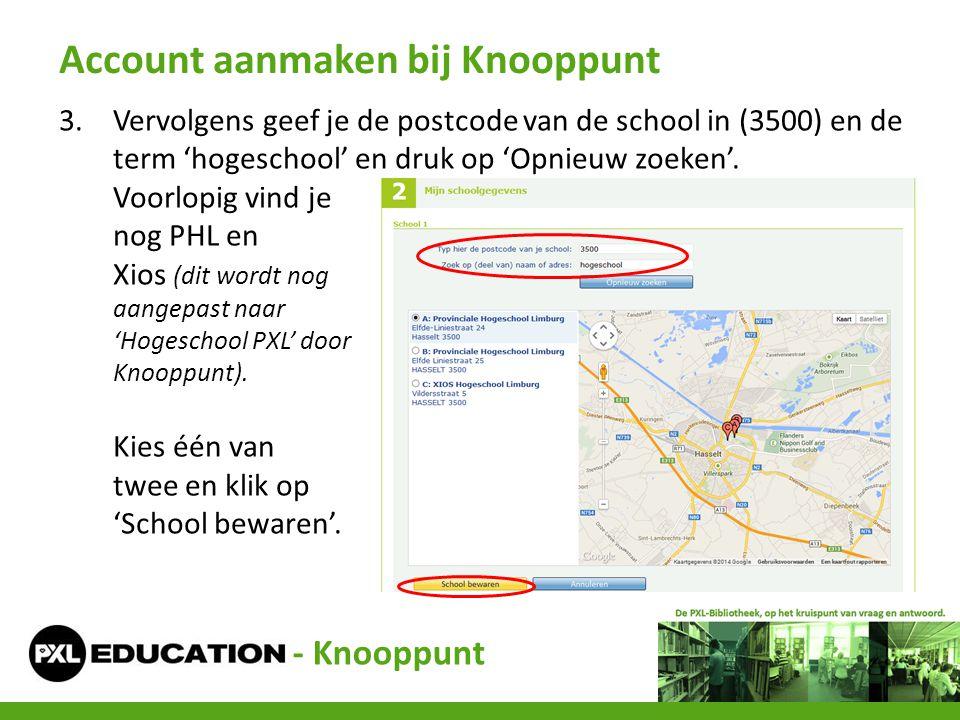 3.Vervolgens geef je de postcode van de school in (3500) en de term 'hogeschool' en druk op 'Opnieuw zoeken'. Voorlopig vind je nog PHL en Xios (dit w