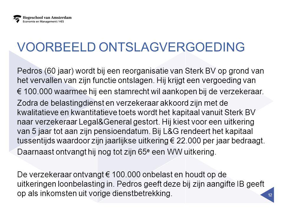 VOORBEELD ONTSLAGVERGOEDING Pedros (60 jaar) wordt bij een reorganisatie van Sterk BV op grond van het vervallen van zijn functie ontslagen.