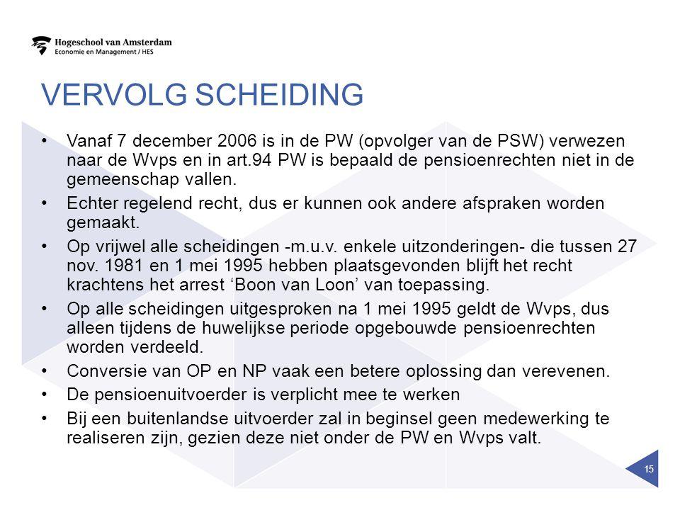 VERVOLG SCHEIDING Vanaf 7 december 2006 is in de PW (opvolger van de PSW) verwezen naar de Wvps en in art.94 PW is bepaald de pensioenrechten niet in de gemeenschap vallen.