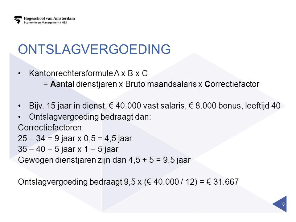ONTSLAGVERGOEDING Kantonrechtersformule A x B x C = Aantal dienstjaren x Bruto maandsalaris x Correctiefactor Bijv. 15 jaar in dienst, € 40.000 vast s