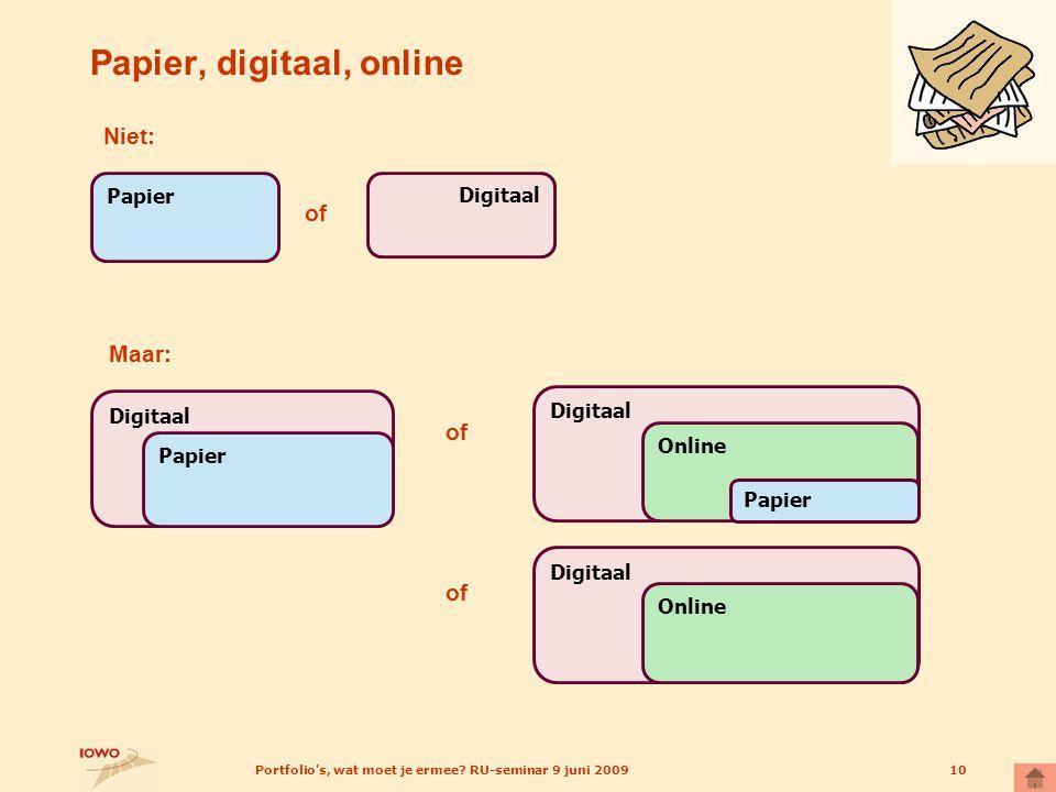 Portfolio's, wat moet je ermee? RU-seminar 9 juni 200910 Papier, digitaal, online Papier Digitaal Niet: of Digitaal Maar: Papier Digitaal Online Papie