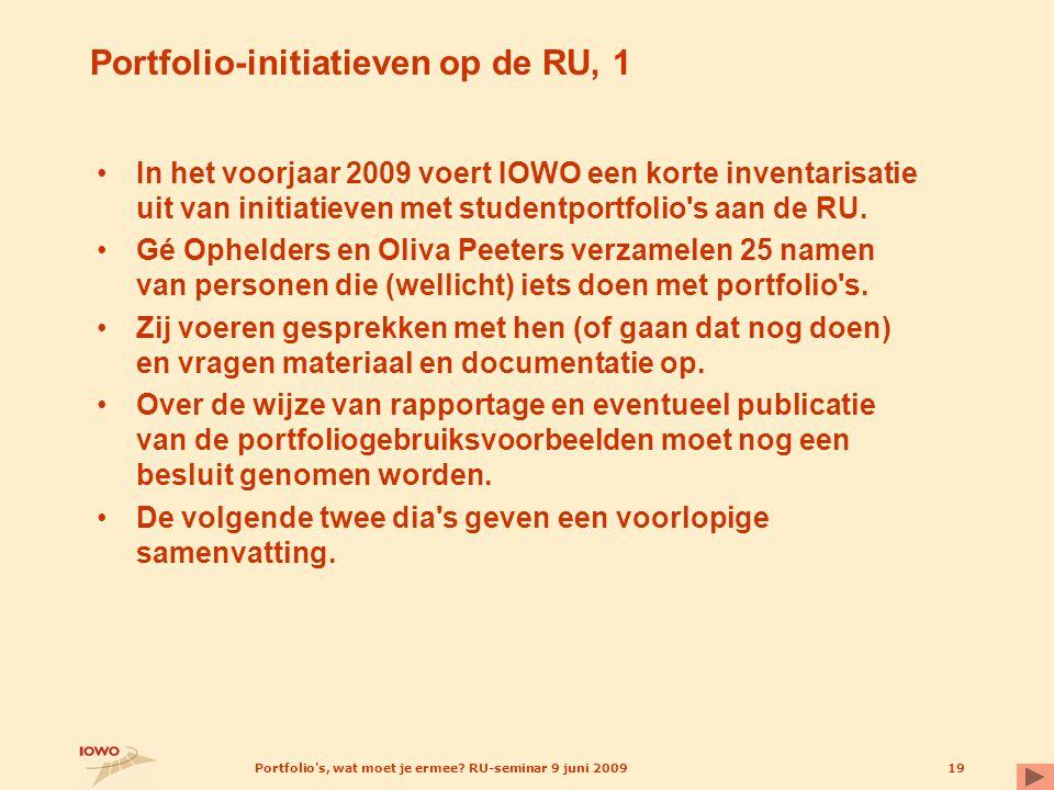 Portfolio's, wat moet je ermee? RU-seminar 9 juni 200919 Portfolio-initiatieven op de RU, 1 In het voorjaar 2009 voert IOWO een korte inventarisatie u