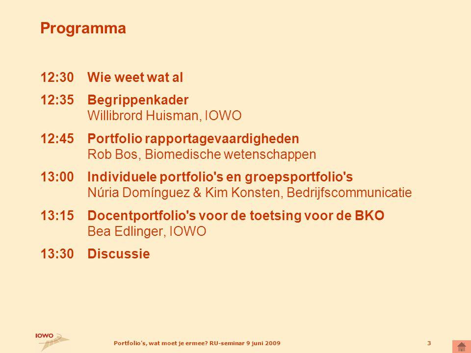Portfolio's, wat moet je ermee? RU-seminar 9 juni 20093 Programma 12:30Wie weet wat al 12:35Begrippenkader Willibrord Huisman, IOWO 12:45Portfolio rap