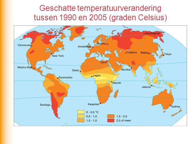 Geschatte temperatuurverandering tussen 1990 en 2005 (graden Celsius)