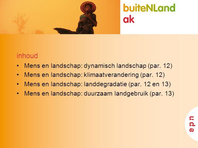inhoud Mens en landschap: dynamisch landschap (par. 12) Mens en landschap: klimaatverandering (par. 12) Mens en landschap: landdegradatie (par. 12 en