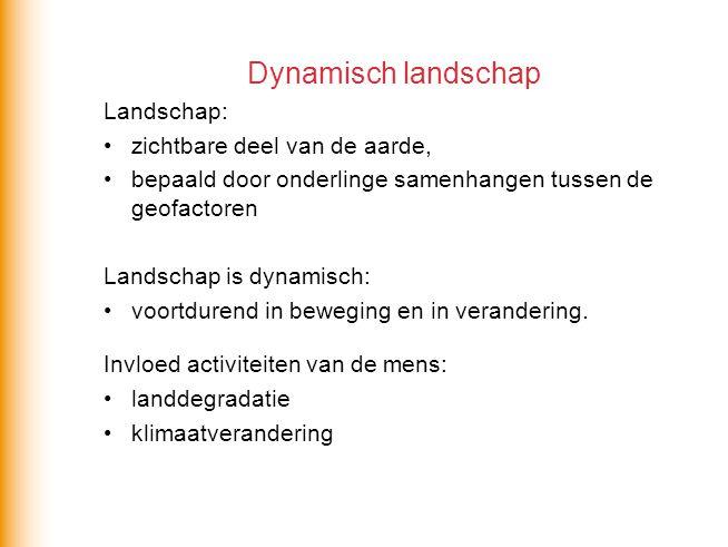 Dynamisch landschap Landschap: zichtbare deel van de aarde, bepaald door onderlinge samenhangen tussen de geofactoren Landschap is dynamisch: voortdur