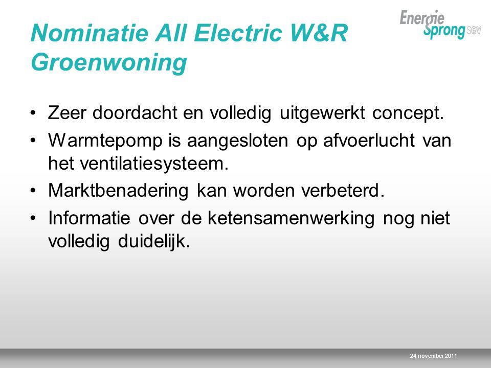 24 november 2011 Nominatie All Electric W&R Groenwoning Zeer doordacht en volledig uitgewerkt concept.