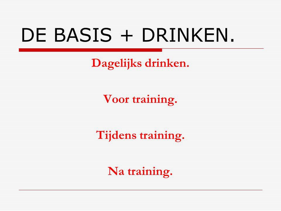 DE BASIS + DRINKEN. Dagelijks drinken. Voor training. Tijdens training. Na training.
