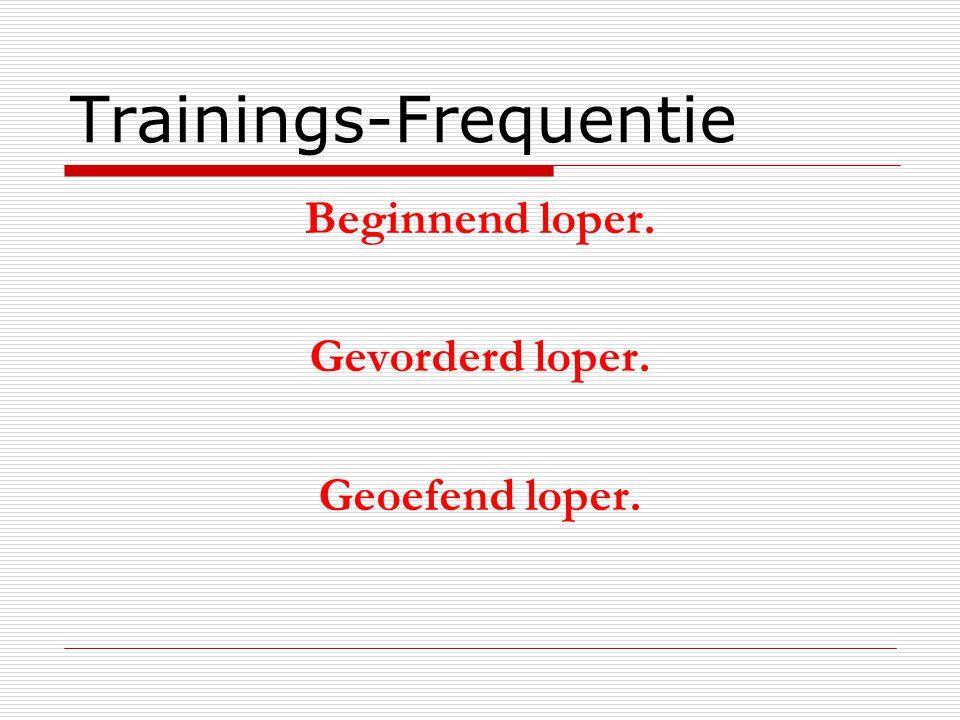 Trainings-Frequentie Beginnend loper. Gevorderd loper. Geoefend loper.
