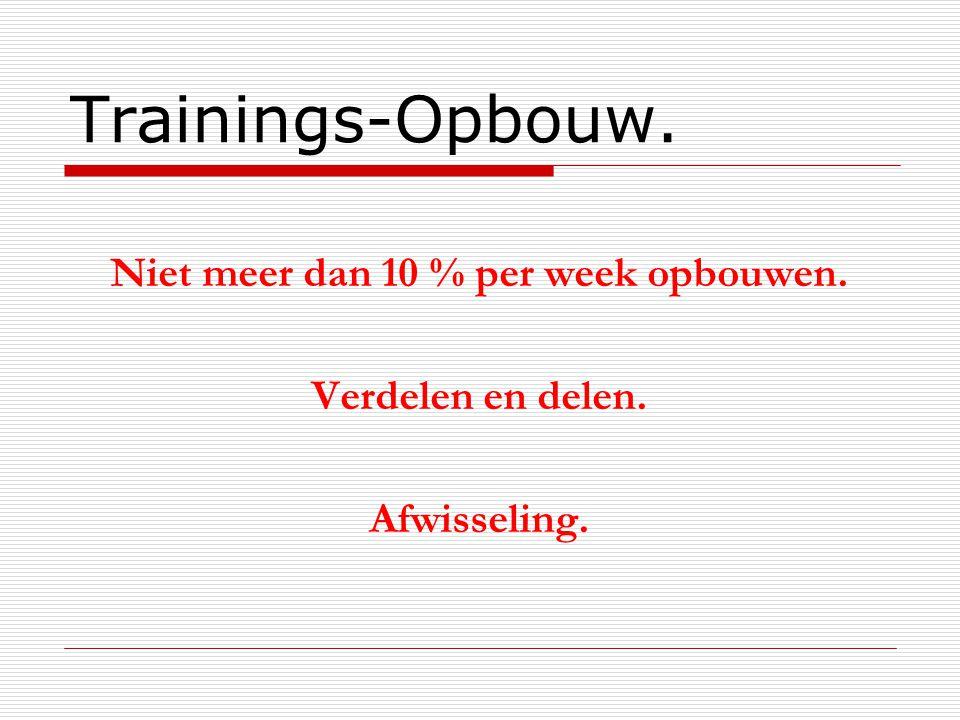 Trainings-Opbouw. Niet meer dan 10 % per week opbouwen. Verdelen en delen. Afwisseling.