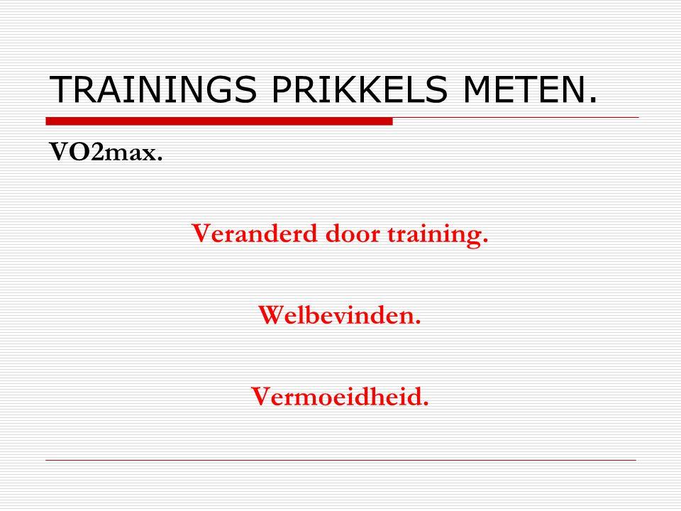 TRAININGS PRIKKELS METEN. VO2max. Veranderd door training. Welbevinden. Vermoeidheid.