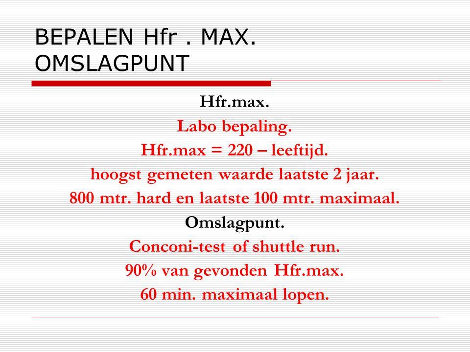 BEPALEN Hfr. MAX. OMSLAGPUNT Hfr.max. Labo bepaling. Hfr.max = 220 – leeftijd. hoogst gemeten waarde laatste 2 jaar. 800 mtr. hard en laatste 100 mtr.