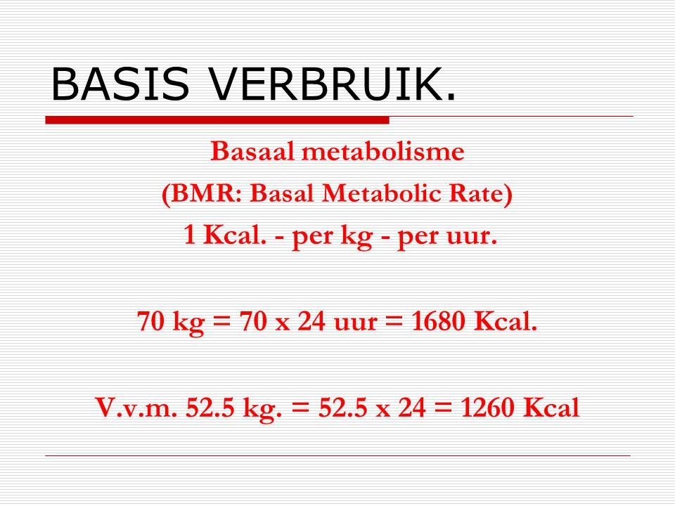 BASIS VERBRUIK. Basaal metabolisme (BMR: Basal Metabolic Rate) 1 Kcal. - per kg - per uur. 70 kg = 70 x 24 uur = 1680 Kcal. V.v.m. 52.5 kg. = 52.5 x 2
